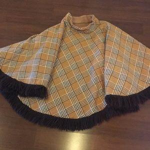 Vintage plaid winter cape